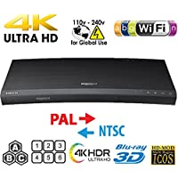 SAMSUNG K8500 UHD - Wi-Fi - Dual HDMI - 2K/4K - Region Free Blu Ray Disc DVD Player - PAL/NTSC - USB - 100-240V 50/60Hz for World-Wide Use & 6 Feet Multi System 4K HDMI Cable