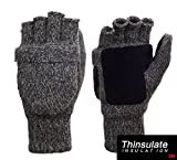 Metog Suede Thinsulate Thermal Insulation Mittens Brown tweed L
