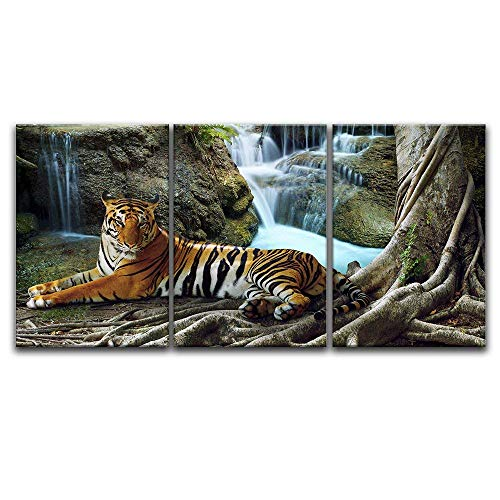 3 Panel A Tiger in Tropical Landscape x 3 Panels