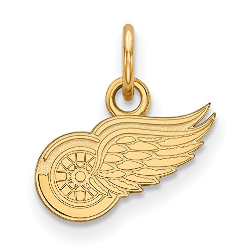 Roy Rose Jewelry Sterling Silver with 14K Yellow Gold-plated NHL LogoArt Detroit Red Wings X-small Pendant/Charm