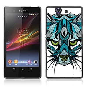 Designer Depo Hard Protection Case for Sony Xperia Z L36H / Beautiful Mountain Cat Tattoo