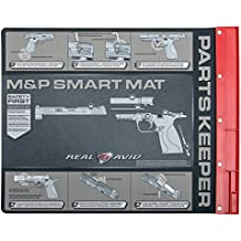 """Real Avid Handgun Smart Mat - 19x16"""", Universal Pistol, Glock, 1911,  and M&P (select your style) Gun Cleaning Mat, Red Parts Tray"""