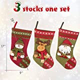 """Christmas Stocking Set by Yoland 3 Pack 19"""" Cross Stitch Needlepoint Knitted Festive Holiday Decoration Snowman Reindeer Santa Ornaments"""