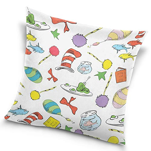Actorland Pillow Cover Dr Seuss Pattern Cat in The Hat, Lorax, Oh The Places You'll Go, Throw Pillow case with Soft Comfortable Feeling for Car and Chair