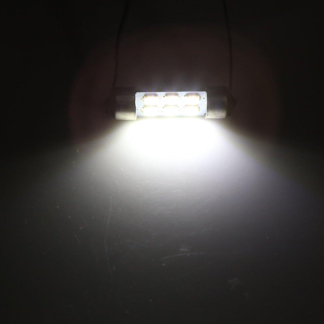 Amazon.com: eDealMax 8pcs 36mm bulbo Blanco Adorno del coche LED SMD 1210 Dome 6 Mapa de luz de lámpara Interior: Automotive