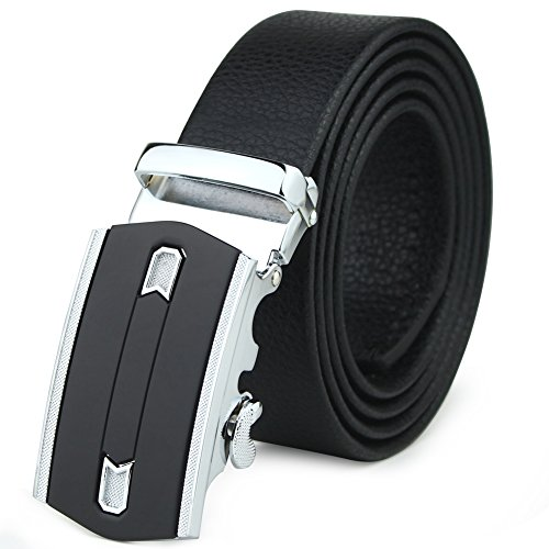 Men's Leather Ratchet Dress Belt Automatic Sliding Buckle With A Gift Box (Braided Snap Belt Strap)