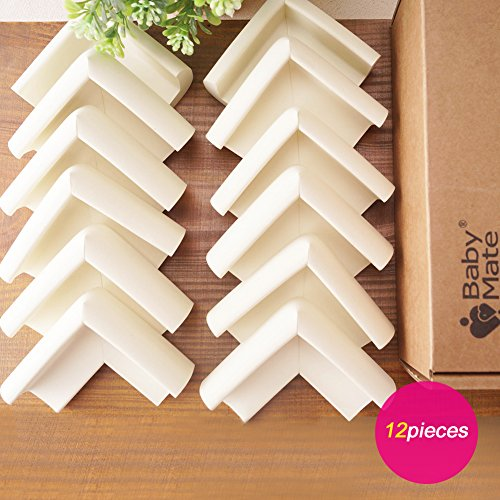 BABY MATE 12 PCS Beige High Density Foam Baby Corner Guards - Table Corner Protectors for Baby Safety Corner Guards Bumpers - Corner Cushion Guards Baby Furniture Safety Bumpers -Corner Protector Baby by Baby Mate (Image #7)