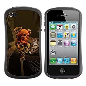 Suave TPU GEL Carcasa Funda Silicona Blando Estuche Caso de protección (para) Apple Iphone 4 / 4S / CECELL Phone case / / Skull Gold Red Death Abstract Vortex /