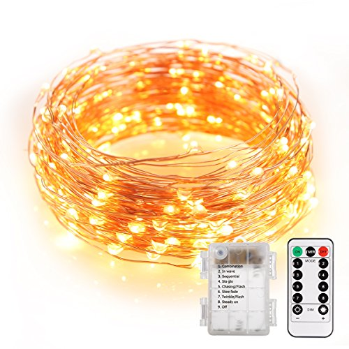 B-right LED String Lights, 33ft 100 LEDs 8 Modes Copper Wire Lights Waterproof Festival Decorative Starry Fairy String Lights Battery Operated with Remote Control for Indoor Garden Patio Warm (34' Outdoor Table Lamp)