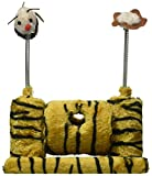 Kole KI-OF418 Faux Tiger Fur Cat Playset with Spring Toys, One Size