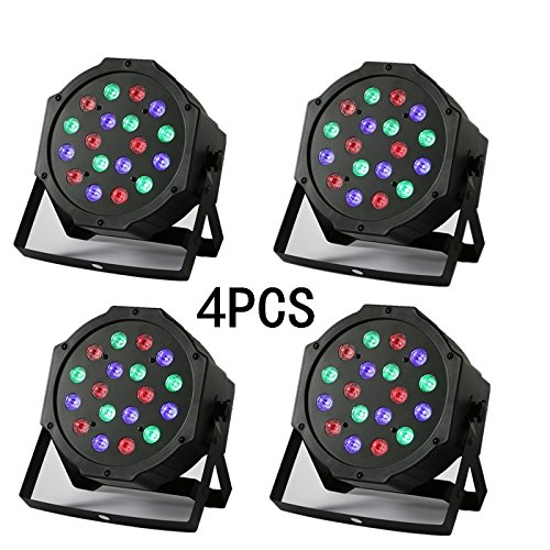 YMHWWW 18 X 3W Stage Lights 4PCS LED Par Light DMX512 Stage Lighting Auto/Sound Activated for Disco DJ Clubs Bar KTV Party (4PCS)