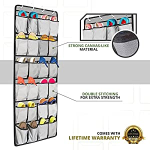 Over the Door Shoe Organizer from Unjumbly, 24 Pocket Shoe Storage, Complete Closet Organizer With 4 Reversible Sturdy Hooks That Fit More Doors (Gray with Black Trim)