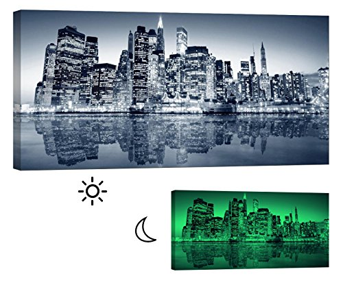 Glow in the Dark Canvas Painting - Stretched and Framed Giclee Wall Art Print - City Urban Decor New