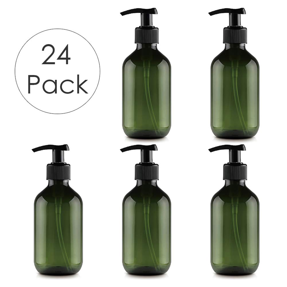 DLIBUY (Pack of 24) 300ML Empty Plastic Refillable Green Lotion Bottles-Pump Bottles For Liquid Soap Hand Creams Body Wash Body Lotion Bath Shower Shampoo Massage oil