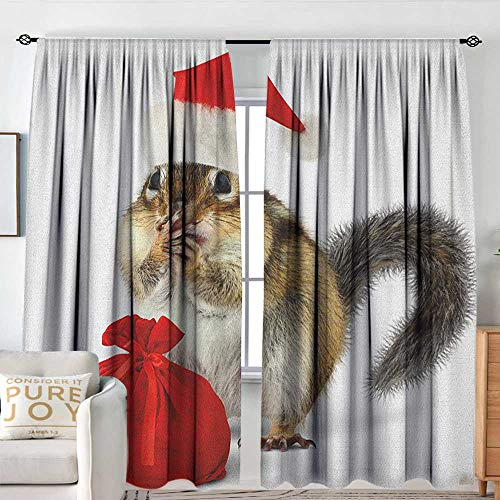 NUOMANAN Pattern Curtains Christmas,Chipmunk in Red Santa Claus Hat and Bag with Surprise Xmas Presents, Pale Yellow White Red,Rod Pocket Curtain Panels for Bedroom & Kitchen 54
