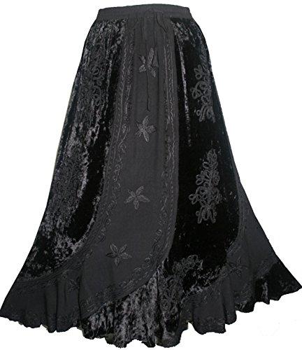 (552 Sk Dancing Gypsy Medieval Renaissance Vintage Skirt (L/XL, Black) )