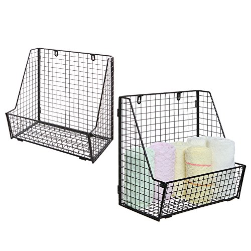 (Set of Wall-Mounted Black Metal Wire Storage Baskets, Free Standing Magazine File Organizer Racks)