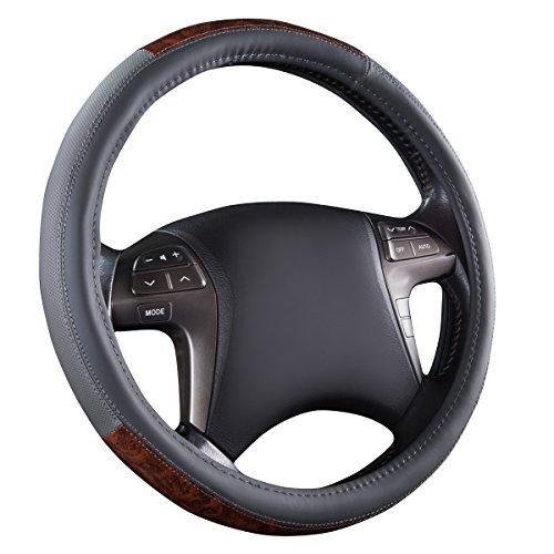 (CAR PASS Classic Wood Grain Universal Leather Steering Wheel Cover fit for Trucks,suvs,Vans,sedans(Gray))
