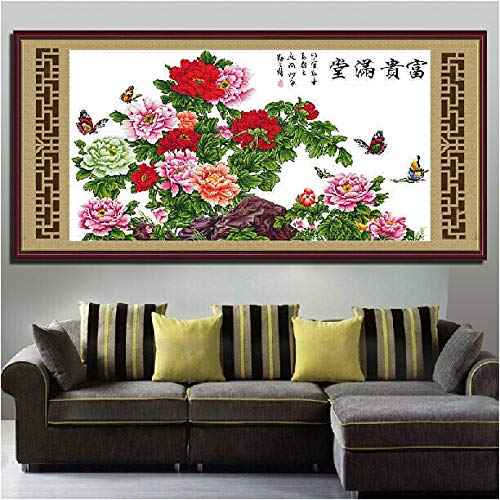 - Zamtac Embroidery Package Cross Stitch Kits Unopen Luxurious 1 Piece Peony Flower Noble Essence