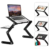 Laptop Stand for Bed, Wizgree Foldable Lap Desk with Fan, Foldable Standing Desk, Height Adjustable Cozy Laptop Table, Portable Bed Desk, Bed Tray for Couch and Sofa