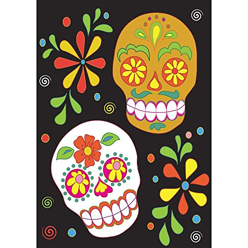 Day of Dead Sugar Skulls on Black 42 x 29 Rectangular Double Applique Large House Flag