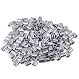 BQLZR 1mm Wire Rope Oval Aluminum Clip Ferrule Sleeves Clamp Pack Of 200