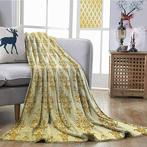 Zmcongz Home Throw Blanket Yellow Decor Collection Ornate Traditional Victorian Renaissance Antique Patterns on Vintage Background Design Cozy for Couch Sofa Bed Beach Travel W70 xL93 Golden Yellow ()