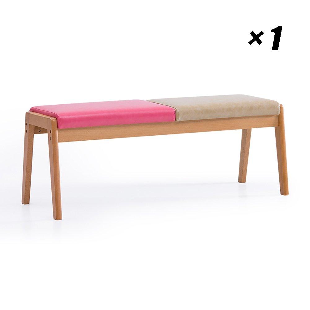 リビングルームダイニングパドルチェアソリッドウッドカフェラウンジシーツ会議用家具ロングチェア117×40×44cm (色 : Pink+light camel color, サイズ さいず : Set of 1) B07FBJK39K Set of 1|Pink+light camel color Pink+light camel color Set of 1