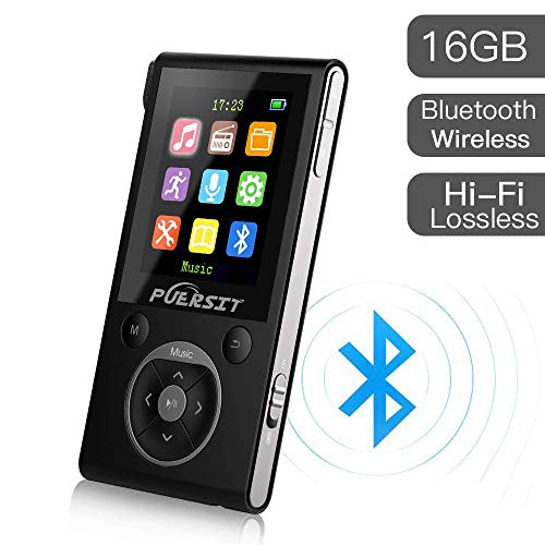 MP3 Player with Bluetooth and FM Radio,16GB Portable HIFI Lossless Sound MP3/MP4 Music Player with Pedometer/Voice Recorder for Sports,50 Hours Playback (Max expand to 128GB)
