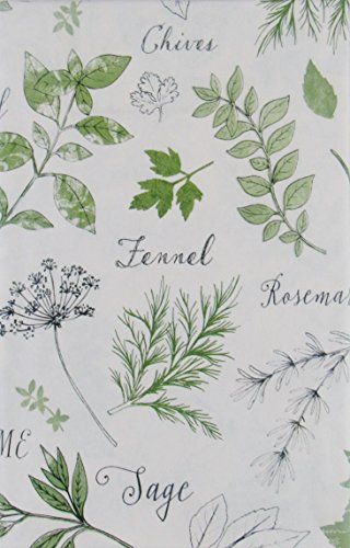 Fresh Herbs Collage Vinyl Flannel BackTablecloths (52