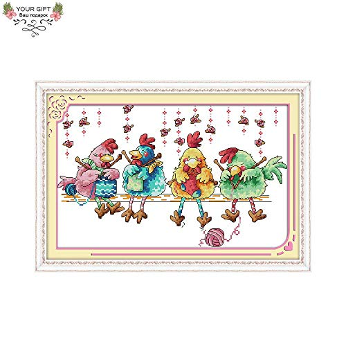 Zamtac C622 14CT 11CT Counted and Stamped Home Decor The Chicken Knitting A Sweater Needlepoint Embroidery Cross Stitch Kits - (Cross Stitch Fabric CT Number: 14CT Stamped Product) (Chicken Needlepoint)