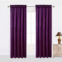 Sideli Solid Rod Pocket Matt Heavy Velvet Curtain Drape Panel Blackout Super Soft in Theater| Bedroom| Living Room| Hotel 1 Piece (52-Inch-by-84-Inch, Purple-rod pocket)