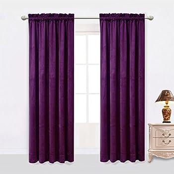 Amazon Com Purple Tab Top Velvet Curtain Drape Panel