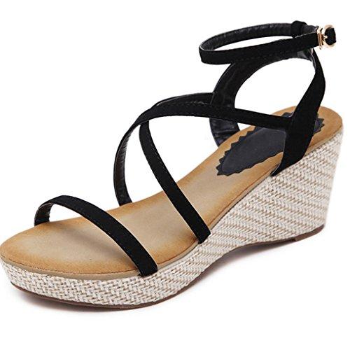 Scarpe vita casual da da donna Costumi estivi allentati piatte Sandali da Platform donna da bagno Summer a Pesce Fashion Sandali Sandali a Tacco bassa XIAOQI Nero Costumi bagno Scarpe spillo Pantofole RqPxwRg