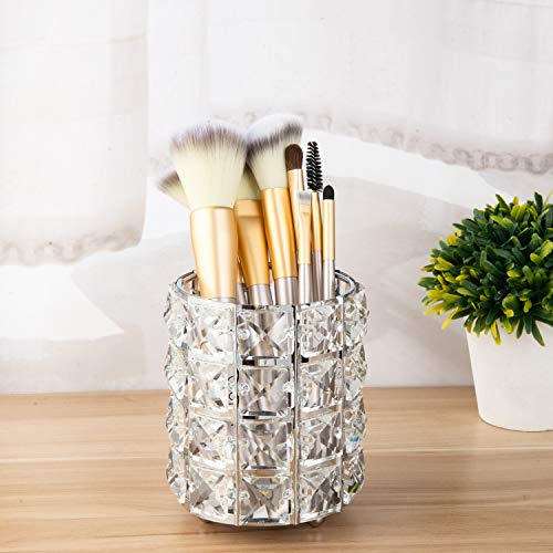 Feyarl Crystal Makeup Brush Holder Makeup Brush Organizer Pen Pencil Holder Storage Cosmetics Tools Container for Dresser Countertop Bathroom (Silver) -