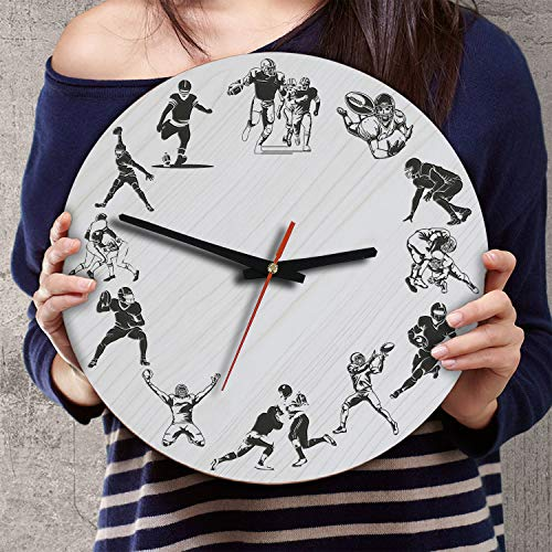 (VTH Global 12 Inch Silent Battery Operated American Football Wood Wall Clocks Football Gifts for Team Players Fans Coaches Lovers Husband Wife)