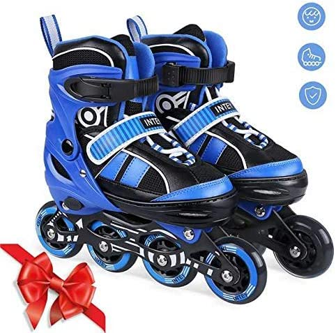 INTEYUS Inline Skates - Adjustable Size Fitness Inline Roller Skate for Girls and Boys with Light Up Wheels (M)