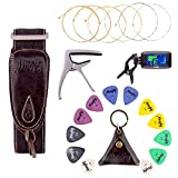 Mugig Guitar Accessories Kit for Acoustic Guitar with Guitar Tuner ,Capo and Guitar Strap, Pick & String