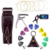 Mugig Guitar Accessories Kit with Tuner, Capo, Acoustic String, Straps and Picks Set with Leather Package