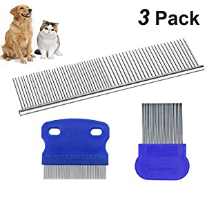 3 in 1 Pet Grooming Comb Stainless Steel + Dog Cat Flea Comb Tear Eye Stain Remover Combs, Hair Brush Effectively Clean… Click on image for further info.
