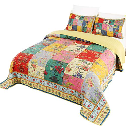 Jessy Home Floral Bedspreads Coverlet Set,100% - Cotton Patchwork Stitching Quilts,Suitable for All Seasons Super Soft Plaid Quilt Set Full/Queen Size (90