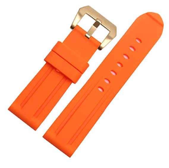 on sale 54209 fbe36 22mm/24mm Color Diver Rubber Silicone Watch Band PVD Tang ...