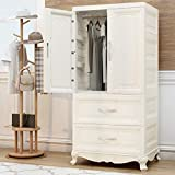 Nafenai Armoire Wardrobe Closet, 2-Door Plastic Cabinet Armoire with 2-Drawers, 2-Shelves and Clothing Hanging Rod, Ivory White