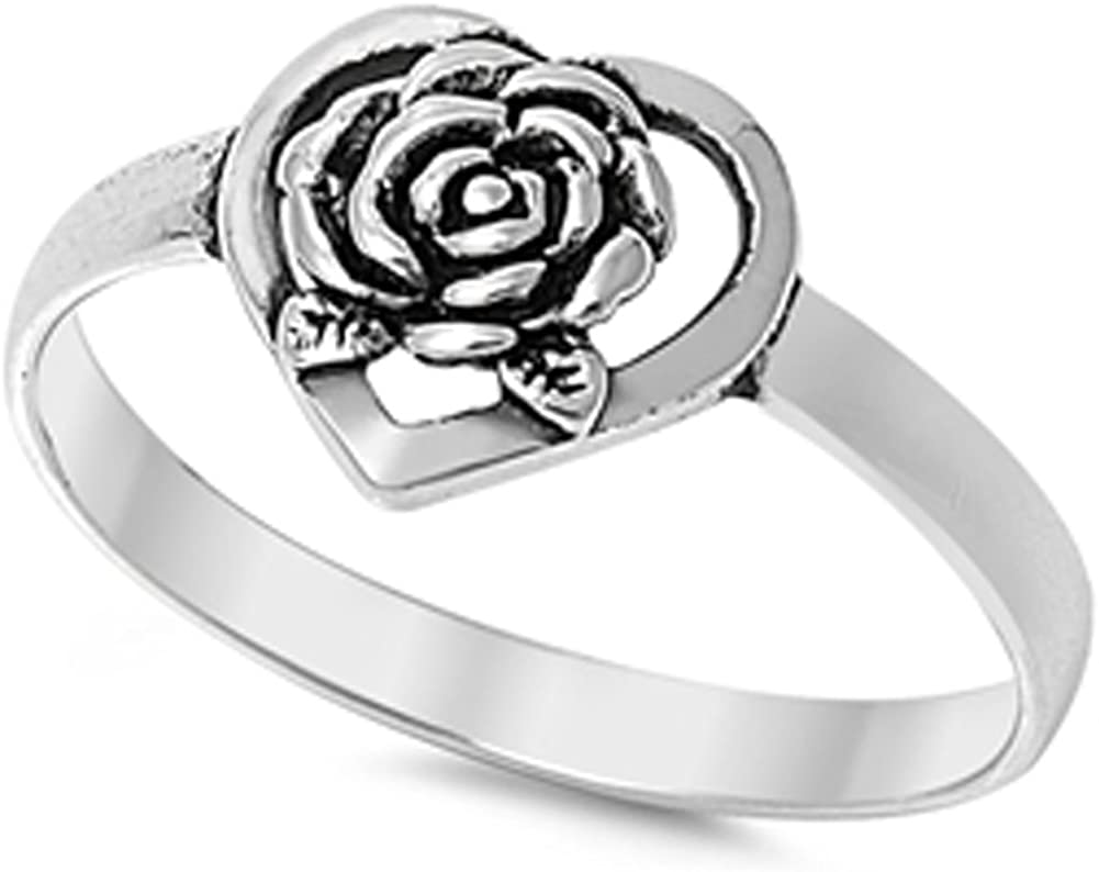 Rose Flower Heart Purity Promise Ring New .925 Sterling Silver Band Sizes 5-10