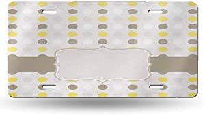 dsdsgog Car Tag Grey and Yellow,Abstract 60s 50s Inspired Home Design Polka Dots Image,Light Brown Marigold and White 12x6 inches,Official Licensed