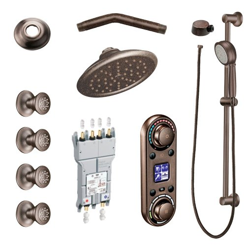 Moen KSPIO-HSB-TS295ORB Vertical Spa Kit with Handheld Shower and Slide Bar, Oil Rubbed ()