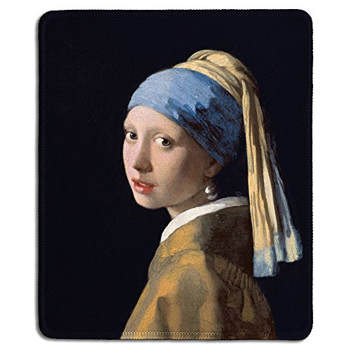 dealzEpic - Art Mousepad - Natural Rubber Mouse Pad with Famous Fine Art Painting of Girl with a Pearl Earring by Johannes Vermeer - Stitched Edges - 9.5x7.9 inches - Girl Art Mouse Pad