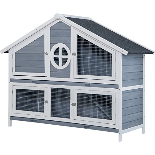(LZ LEISURE ZONE Rabbit Hutch Pet Bunny Cage Wood Small Animals House for Outdoor/Indoor Use (Grey+White))