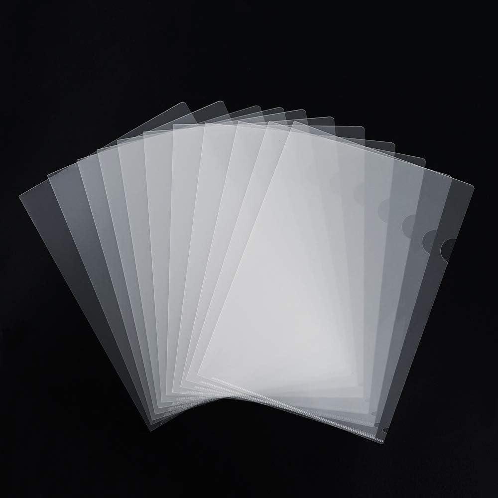 INFUN 36 Pack Plastic Clear Document Folder,Letter/ A4 Size Transparent L-Type Plastic Folder Copy Safe Project Pockets for School Office