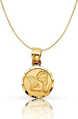14K Yellow Gold Religious Charm Pendant For Necklace or Chain